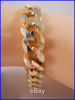 Heavy Wide Italy 14k Yellow Gold Curb Anchor Mariner Figaro Chain Bracelet 13.9g