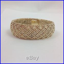 Heavy Wide Mesh 14k Yellow Gold Bracelet 6.75