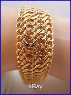 Heavy Wide Sauro Brev Italy 14k Yellow Gold Byzantine Mesh Chain Bracelet 7