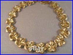 Heavy Wide Zrw 14k Yellow Gold Plumeria Rose Flower Diamond Cut Bracelet 7 1/2