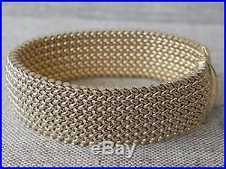 Heavy Woven Wide Solid 14K Yellow Gold Bracelet