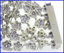 Heavy jumbo 18K WG 26.0CT VS1/F diamond cluster 32.7mm wide floral bracelet