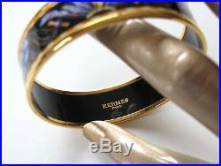 Hermes Black Enamel Gold Trim Brazil Wide Bangle Bracelet