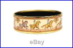 Hermes Bracelet Gold Horse Enamel Cuff Wide Bangle