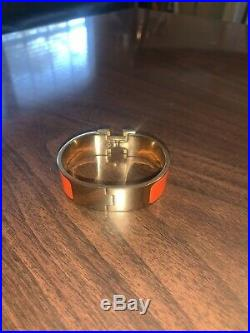 Hermes Clic Clac Clak H Wide Bracelet Enamel Bangle GM Gold Plated