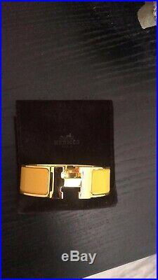 Hermes Clic Clac Clak H wide bracelet enamel Bangle GM Gold Plated $720
