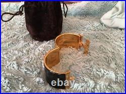Hermes Clic Clac H Black Enamel Extra Wide Gold Plated Bracelet 55mm size PM