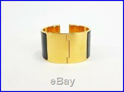 Hermes Clic Clac H Black Enamel Extra Wide Gold Plated Bracelet Cuff