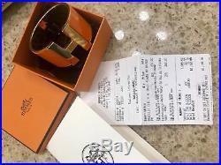 Hermes Gold Plated Orange Clic Clac H Wide Enamel Bracelet Cuff XL Authentic