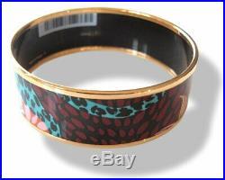 Hermes Rose Couture Enamel Gold Trim Jungle of Eden Wide Bangle Bracelet Sz S/M