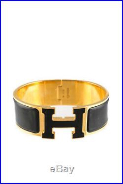 Hermes Womens Gold Plated Black Enamel Wide Clic Clac H Cuff Bracelet
