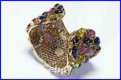 ICONIC CHANEL Paris Gripoix Wide Gold Plated Crystal Poured Glass Cuff Bracelet