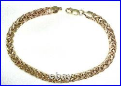 ITALY 10kt Yellow Gold Open Braid 8.25 Bracelet 6.7 Grams 6 mm Wide 585 Clasp