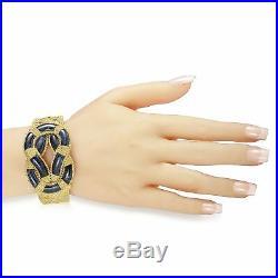 Ilias Lalaounis 18K Yellow Gold Lapis Ornate Wide Bangle Bracelet