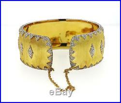 Impressive Buccellati 18k Gold Wide Cuff Bracelet