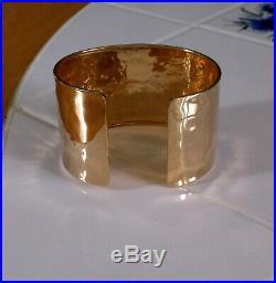 Italian 14k Yellow Gold Wide Hammered Polished Cuff Bangle Bracelet
