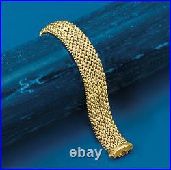 Italian 14kt Yellow Gold Wide Riso-Link Bracelet