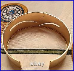 Italian 18k Yellow Gold Brushed Finish Diamond Wide Cuff Open Ended Bracelet