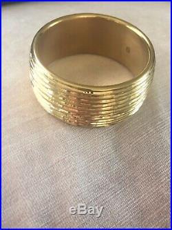 Italian Milor 14K Yellow Gold Wide Textured Bangle Bracelet