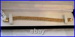 Italian SOLID 14K Yellow Gold Milor Woven Wide Mesh Link Chain Bracelet 9mm 7.4