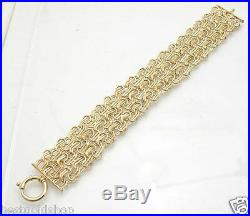 Italian Wide Textured Triple Row Double Oval Bracelet REAL 14K Yellow Gold