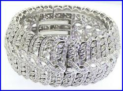 Italian designer heavy 18K WG 40.0CT diamond jumbo wide 32.5mm bangle bracelet