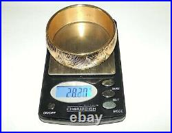 Italy 14K Gold 25mm Wide Statement Bangle Bracelet 28.27 Grams 7 1/2 Not Scrap