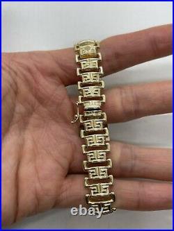 Italy Milor 14k yellow gold Greek Key pattern 1/2 wide panel bracelet geometric