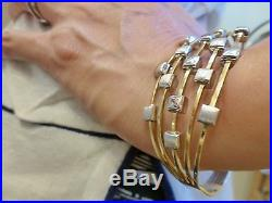 Italy Milros 18k yellow white gold bangle bracelet wide 5 bands squares hinged