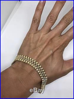 Italy designer GS 14k yellow gold watch chain 3 row link bracelet 33g wide heavy