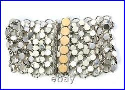 JOHN HARDY Wide Sterling 925 Dot Chainmail 18k Yellow Gold Dot Clasp Bracelet