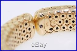 John Hardy 18k Yellow Gold Dot Cuff Bangle Hinged 16mm Wide Bracelet