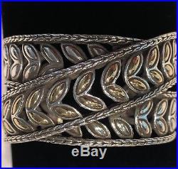 John Hardy. 925 Sterling Silver with18K Yellow Gold KAWUNG Wide Cuff Bracelet