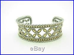 John Hardy Sterling Silver & 18k Yellow Gold Kawung Wide 23mm Cuff Bracelet