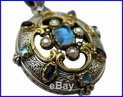 KONSTANTINO Erato Blue Topaz Cabochon WIDE CUFF BRACELET 925 Sterling & 18K Gold