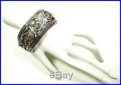 KONSTANTINO Sterling Silver 18K Gold Tourmaline & Chalcedony Wide Ciff Bracelet