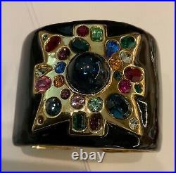 Kenneth Jay Lane KJL Gold Tone Black Enamel Maltese Cross Wide Cuff Bracelet 7in