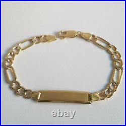 Kids small adult 10k Yellow Gold figaro ID Bracelet 6.5 inch long 6 mm wide