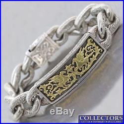 Konstantino Solid 18k Yellow Gold Silver Pegasus Horse 17mm Wide ID Bracelet C8