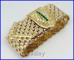 Kutchinsky Wide Emerald Diamond Gold Buckle Bracelet 18k Yellow Gold HM1685R8