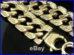 L072- Wide 9K 9ct Solid GOLD Unique LONG Curblink Bracelet 9 inch Bark effect