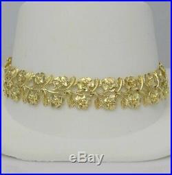 LADIES 10k YELLOW GOLD WIDE DIAMOND CUT FLOWER LINK BRACELET 12.5g 13mm 7 1/2