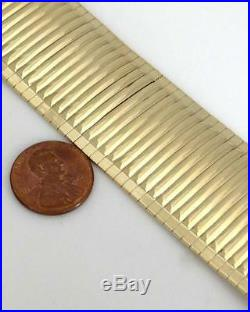LADIES 14K YELLOW GOLD SNAKE LINK WIDE STATEMENT BRACELET 1.18 wide 35.8g 7