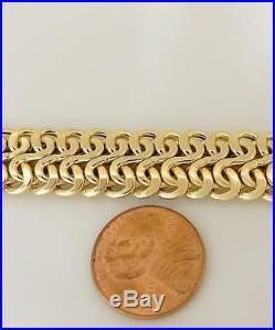 LADIES 14k YELLOW GOLD WIDE BYZANTINE PUFF LINK BRACELET 21.9g 13.8mm 8 1/2