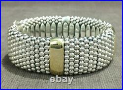 LAGOS Caviar Wide 18K Gold & Sterling Silver Ladies Bracelet