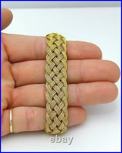 Ladies' 14.0mm Four Row Wide Mesh Braid Bracelet in 14k Yellow Gold 7.5