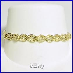 Ladies 14k Yellow Gold 7 1/4 Fancy Link Wide Estate Bracelet