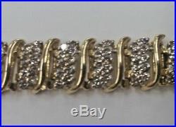 Ladies 5.0ctw Round Diamond Tennis Bracelet 10K Yellow Gold 7 4ct 10mm Wide