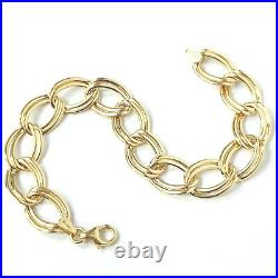 Ladies 9ct Gold Bracelet Yellow Gold Open Link 11mm Wide Fancy 4.1g 7.5 Inches