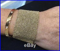 Ladies Designer Carolina Bucci 18K Yellow Gold Wide Woven Bracelet 42.8 Grams